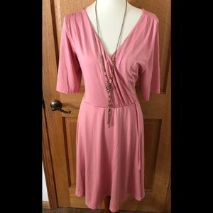 NWT Lindy Bop ANITA Pink Faux Wrap Dress Sz. 18